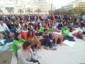 Public Viewing der Obama-Rede in Tel Aviv. Foto: Yaniv Shacham, Peace Now