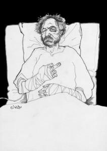 Ali Ferzat - Selbstportrait nach dem Überfall