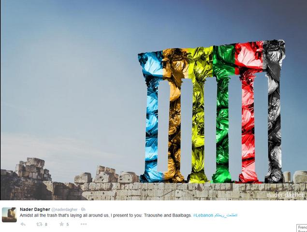 Baal-Bag statt Baalbek, in den Farben der Müllsäcke. (c) Nader Dagher